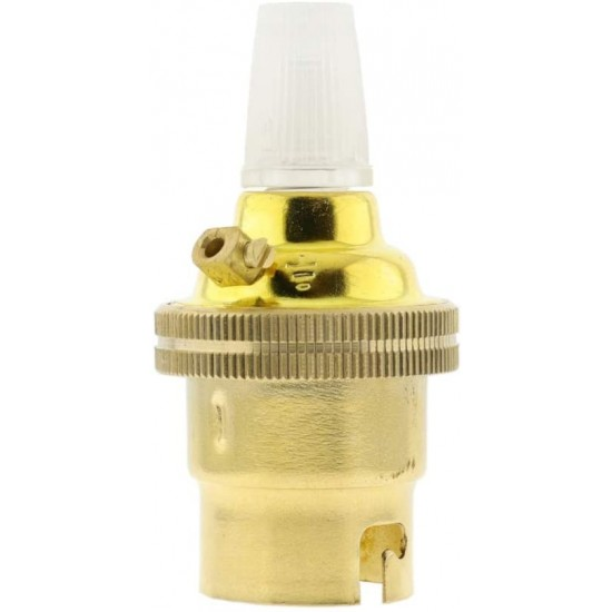 B22 Solid  Brass LampHolder with Plain Skirt and Nylon Cord Grip